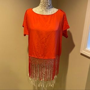 EUC MICHAEL KORS Orange fringe top
